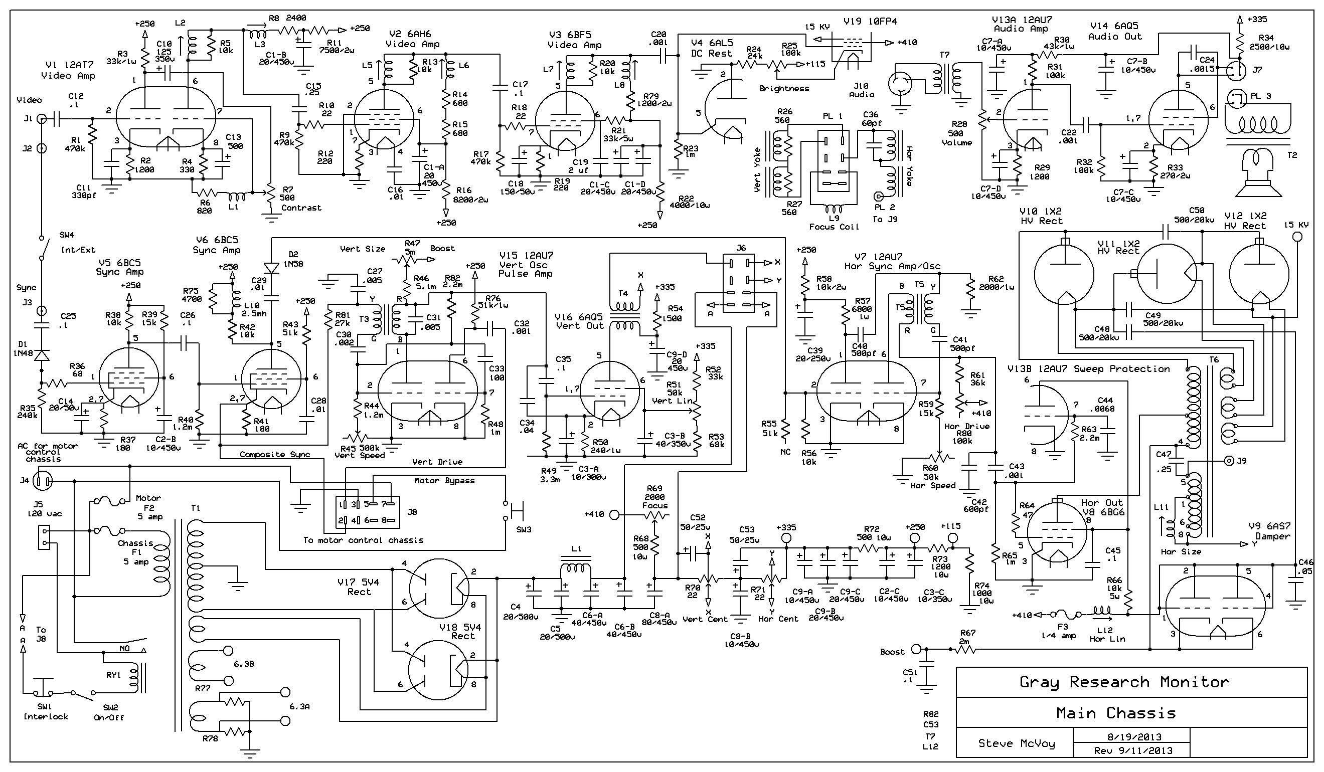 crt monitor schematic diagram