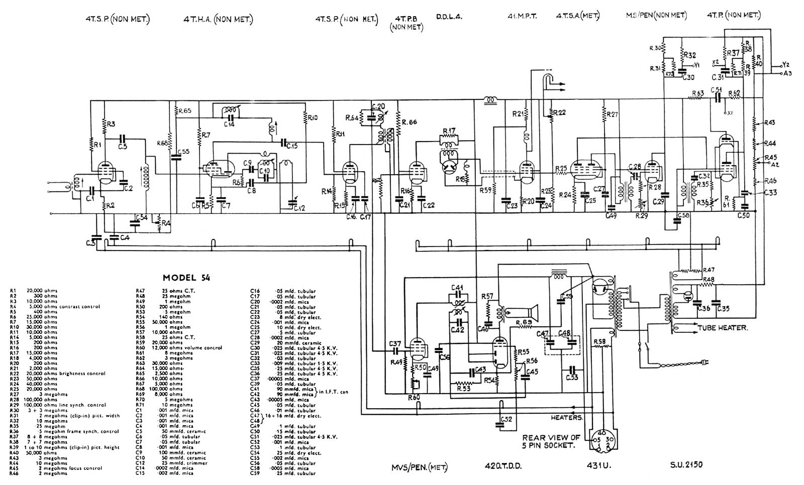 Tv Circuit Diagram Trusted Wiring Samsung Galaxy S Television Technical Data Pre 1945 Capacitor