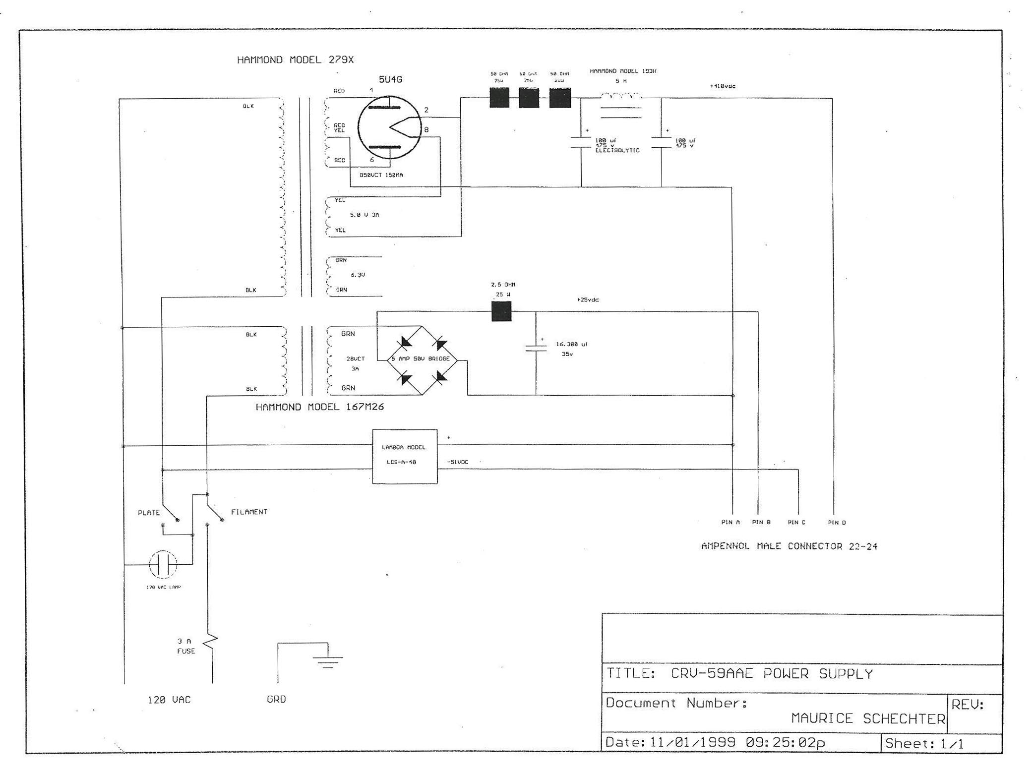 Crv 59 Military Camera 24 Vdc Power Supply Schematic
