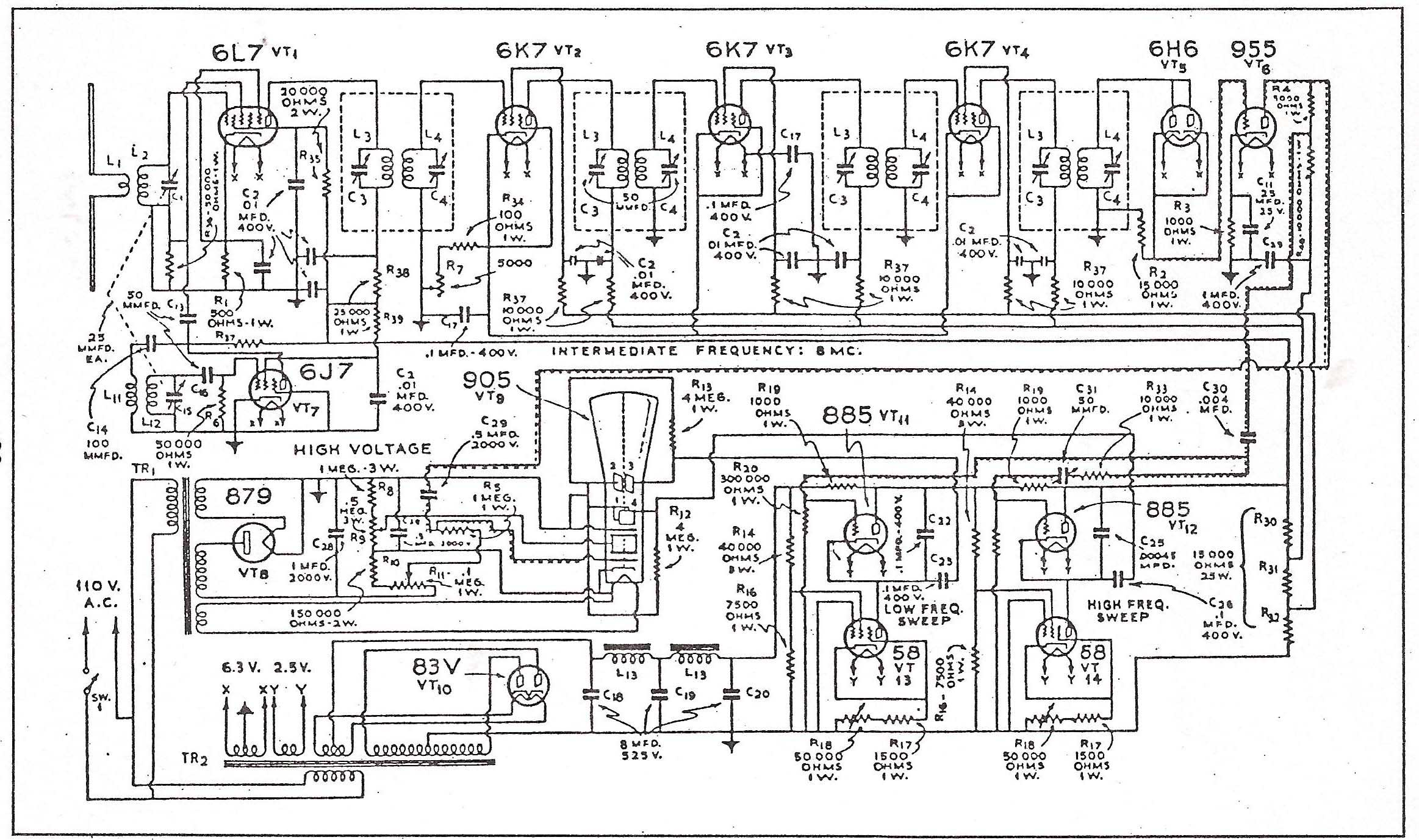 Television Technical Data Pre 1945 Crt Wiring Diagram Dumont